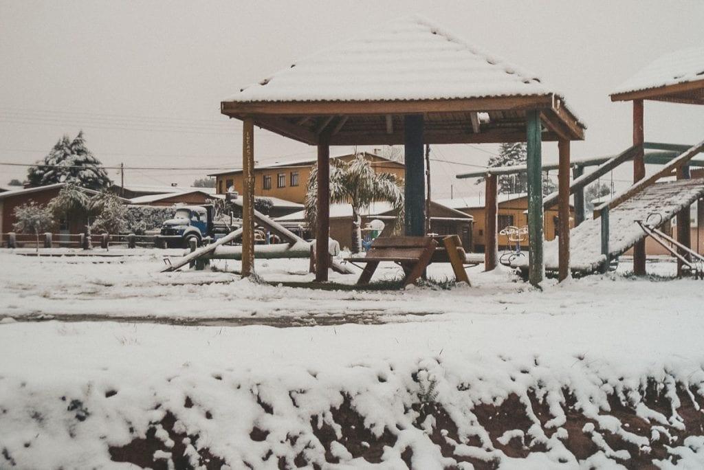 Neve em Bom Jesus, no Rio Grande do Sul, Brasil